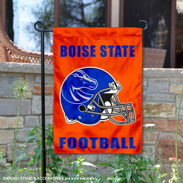 Boise State Helmet Yard Garden Flag is 13x18 inches in size, is made of 2-layer polyester with Liner, screen printed university athletic logos and lettering, and is readable and viewable correctly on both sides. Available same day shipping, our Boise State Helmet Yard Garden Flag is officially licensed and approved by the university and the NCAA.