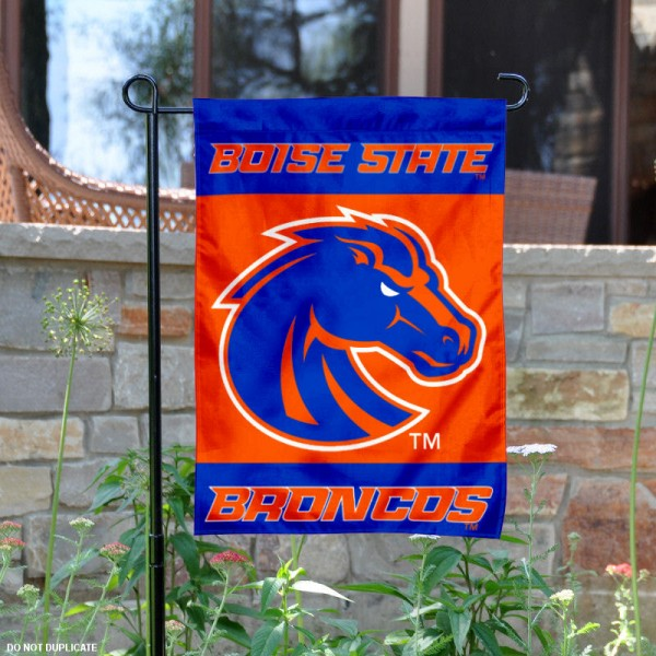 Boise State New Logo Garden Flag is 13x18 inches in size, is made of 2-layer polyester, screen printed university athletic logos and lettering, and is readable and viewable correctly on both sides. Available same day shipping, our Boise State New Logo Garden Flag is officially licensed and approved by the university and the NCAA.