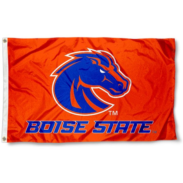 Boise State Orange Flag measures 3x5 feet, is made of 100% polyester, offers quadruple stitched flyends, has two metal grommets, and offers screen printed NCAA team logos and insignias. Our Boise State Orange Flag is officially licensed by the selected university and NCAA.