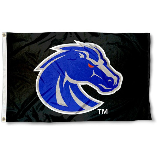 Boise State University Black 3x5 Flag measures 3'x5', is made of 100% poly, has quadruple stitched sewing, two metal grommets, and has double sided Team University logos. Our BSU Broncos 3x5 Flag is officially licensed by the selected university and the NCAA.