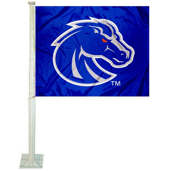 Boise State University Car Window Flag measures 12x15 inches, is constructed of sturdy 2 ply polyester, and has screen printed school logos which are readable and viewable correctly on both sides. Boise State University Car Window Flag is officially licensed by the NCAA and selected university.