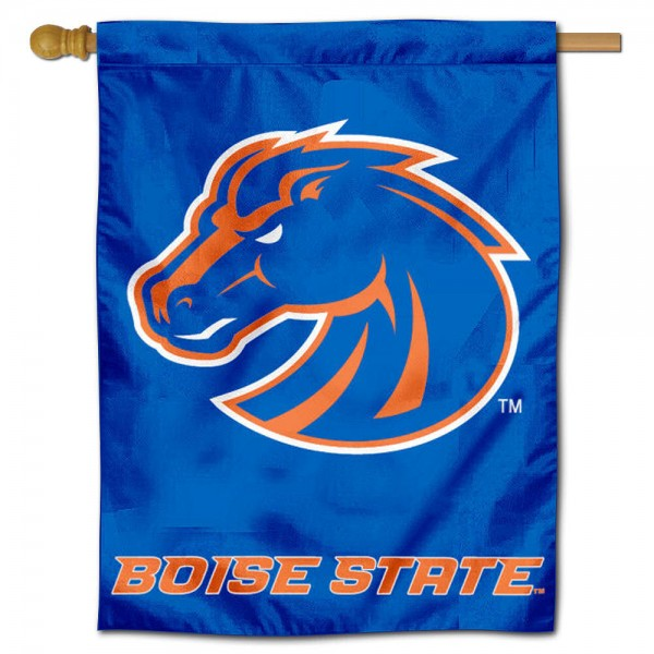 "Boise State University Decorative Flag is constructed of polyester material, is a vertical house flag, measures 30""x40"", offers screen printed athletic insignias, and has a top pole sleeve to hang vertically. Our Boise State University Decorative Flag is Officially Licensed by Boise State University and NCAA."