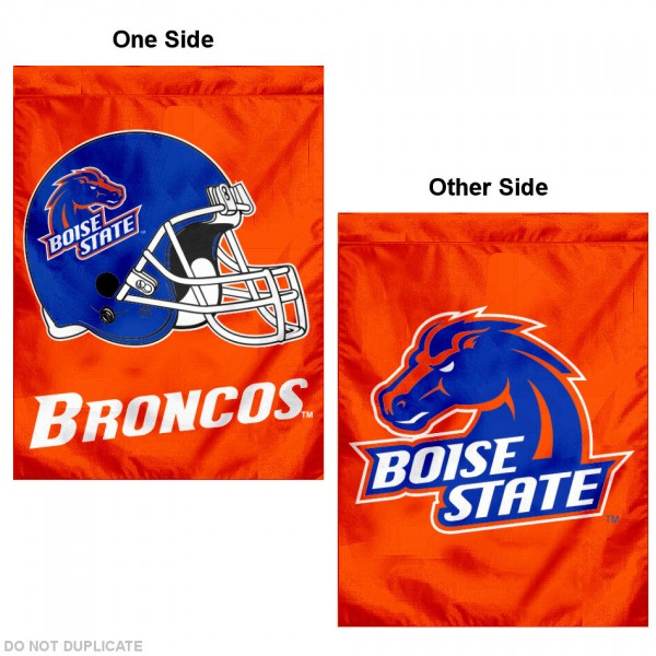 Boise State University Double Logo House Flag is a vertical house flag which measures 30x40 inches, is made of 2 ply 100% polyester, offers dye sublimated NCAA team insignias, and has a top pole sleeve to hang vertically. Our Boise State University Double Logo House Flag is officially licensed by the selected university and the NCAA.