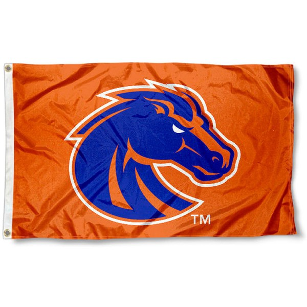 Boise State University Flag measures 3'x5', is made of 100% poly, has quadruple stitched sewing, two metal grommets, and has double sided Boise State University logos. Our Boise State University Flag is officially licensed by the selected university and the NCAA