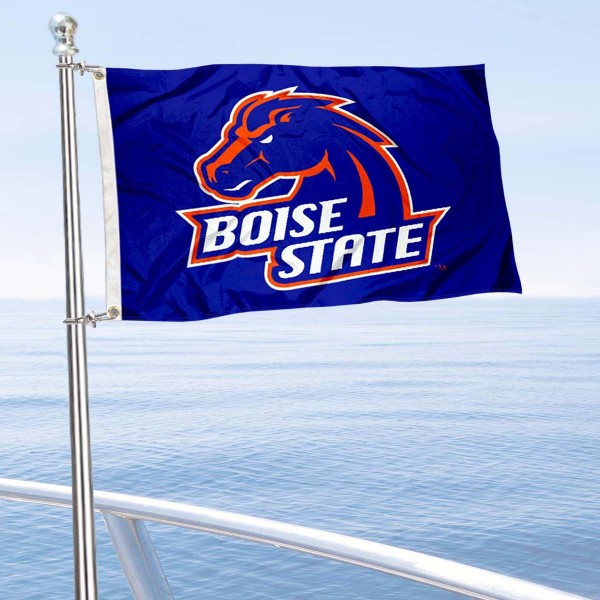 Boise State University Mini Flag is 12x18 inches, polyester, offers quadruple stitched flyends for durability, has two metal grommets, and is double sided. Our mini flags for Boise State University are licensed by the university and NCAA and can be used as a boat flag, motorcycle flag, golf cart flag, or ATV flag.