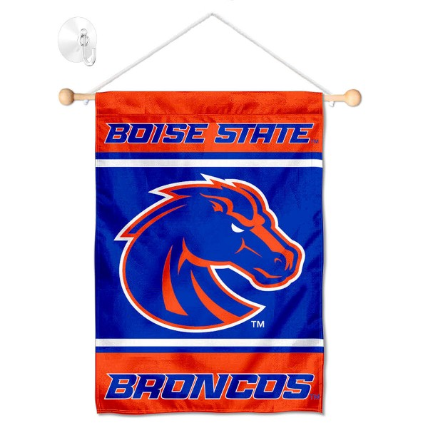 "Boise State Window and Wall Banner kit includes our 13""x18"" garden banner which is made of 2 ply poly with liner and has screen printed licensed logos. Also, a 17"" wide banner pole with suction cup is included so your Boise State Window and Wall Banner is ready to be displayed with no tools needed for setup. Fast Overnight Shipping is offered and the flag is Officially Licensed and Approved by the selected team."