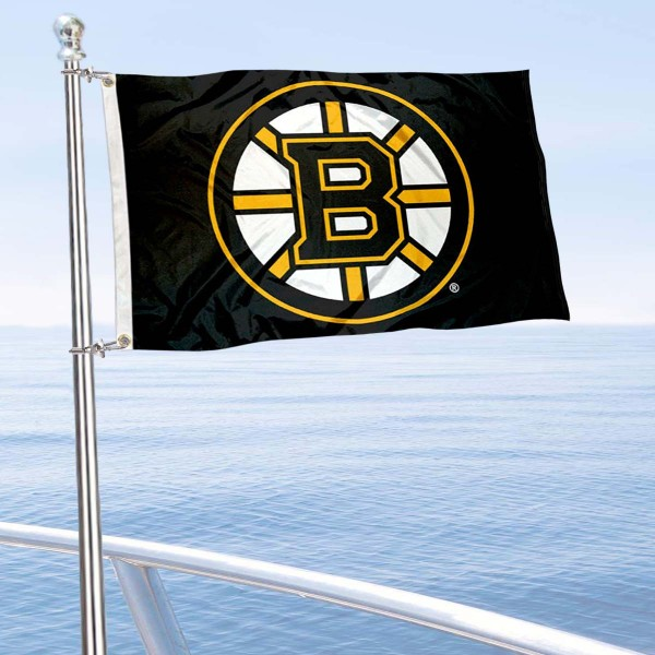 "Our Boston Bruins Boat and Nautical Flag is 12""x18"", made of three-ply poly, has a solid header with two metal grommets, and is double sided. This Boat and Nautical Flag for Boston Bruins is Officially Licensed by the NHL and can also be used as a motorcycle flag, boat flag, golf cart flag, or recreational flag."