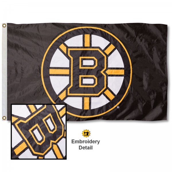 This Boston Bruins Embroidered Nylon Flag is double sided, made of nylon, 3'x5', has two metal grommets, indoor or outdoor, and four-stitched fly ends. These Boston Bruins Embroidered Nylon Flags are Officially Approved the Boston Bruins and NHL.