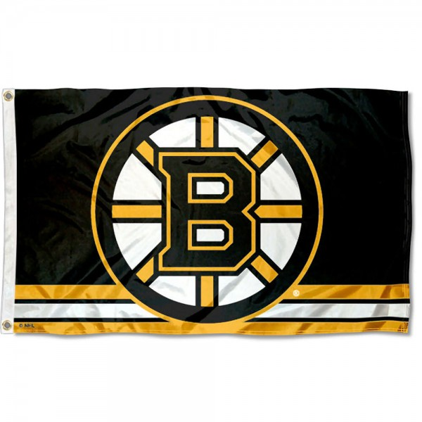 The Boston Bruins Flag is four-stitched bordered, double sided, made of poly, 3'x5', and has two grommets. These Boston Bruins Flags are NHL Genuine Merchandise.