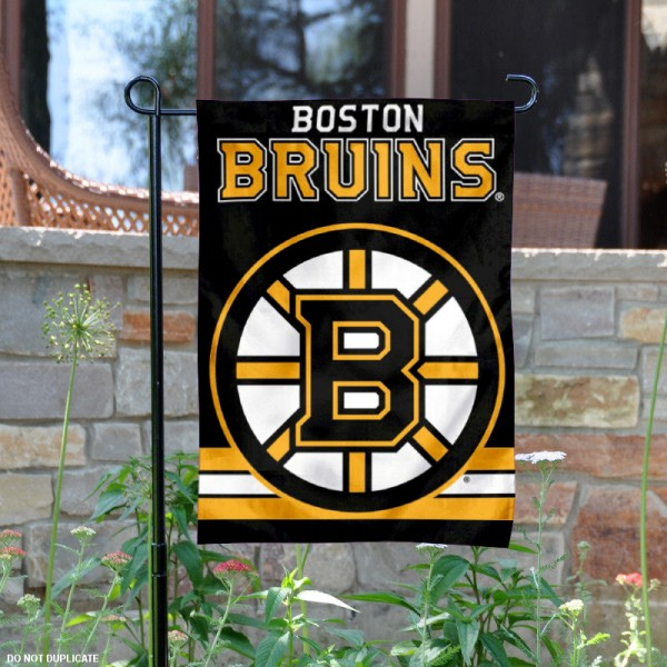 Boston Bruins Garden Flag is 12.5x18 inches in size, is made of 2-ply polyester, and has two sided screen printed logos and lettering. Available with Express Next Day Ship, our Boston Bruins Garden Flag is NHL Officially Licensed and is double sided.