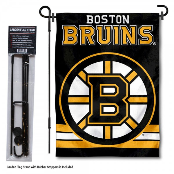 "Boston Bruins Garden Flag and Flagpole Stand kit includes our 12.5""x18"" garden banner which is made of 2 ply poly with liner and has screen printed licensed logos. Also, a 40""x17"" inch garden flag stand is included so your Boston Bruins Garden Flag and Flagpole Stand is ready to be displayed with no tools needed for setup. Fast Overnight Shipping is offered and the flag is Officially Licensed and Approved by the selected team."