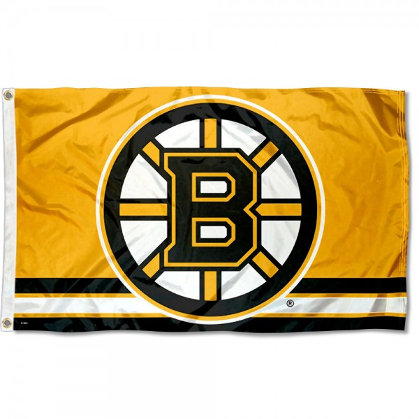 The Boston Bruins Gold Flag is four-stitched bordered, double sided, made of poly, 3'x5', and has two grommets. These Boston Bruins Gold Flags are NHL Genuine Merchandise.