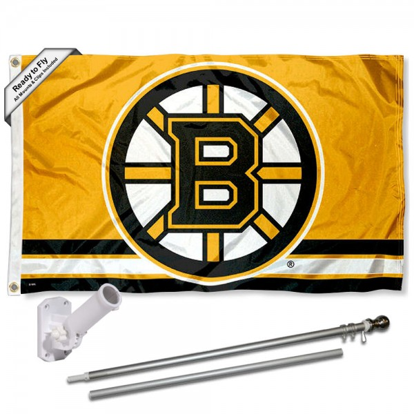 Our Boston Bruins Gold Flag Pole and Bracket Kit includes the flag as shown and the recommended flagpole and flag bracket. The flag is made of polyester, has quad-stitched flyends, and the NHL Licensed team logos are double sided screen printed. The flagpole and bracket are made of rust proof aluminum and includes all hardware so this kit is ready to install and fly.
