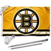 Boston Bruins Gold Flag Pole and Bracket Kit