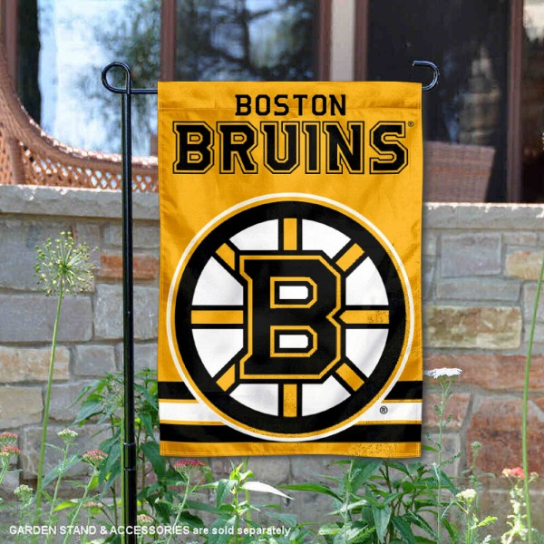 Boston Bruins Gold Garden Banner is 12.5x18 inches in size, is made of 2-ply polyester, and has two sided screen printed logos and lettering. Available with Express Next Day Ship, our Boston Bruins Gold Garden Banner is NHL Officially Licensed and is double sided.