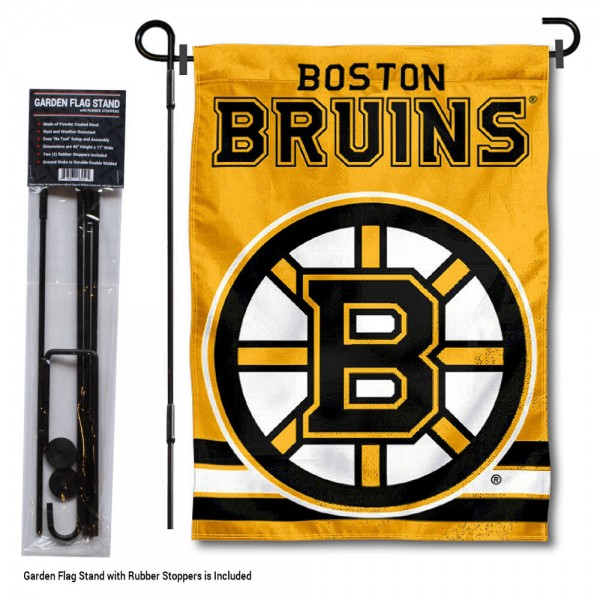 "Boston Bruins Gold Garden Banner and Flagpole Holder Stand kit includes our 12.5""x18"" garden banner which is made of 2 ply poly with liner and has screen printed licensed logos. Also, a 40""x17"" inch garden flag stand is included so your Boston Bruins Gold Garden Banner and Flagpole Holder Stand is ready to be displayed with no tools needed for setup. Fast Overnight Shipping is offered and the flag is Officially Licensed and Approved by the selected team."