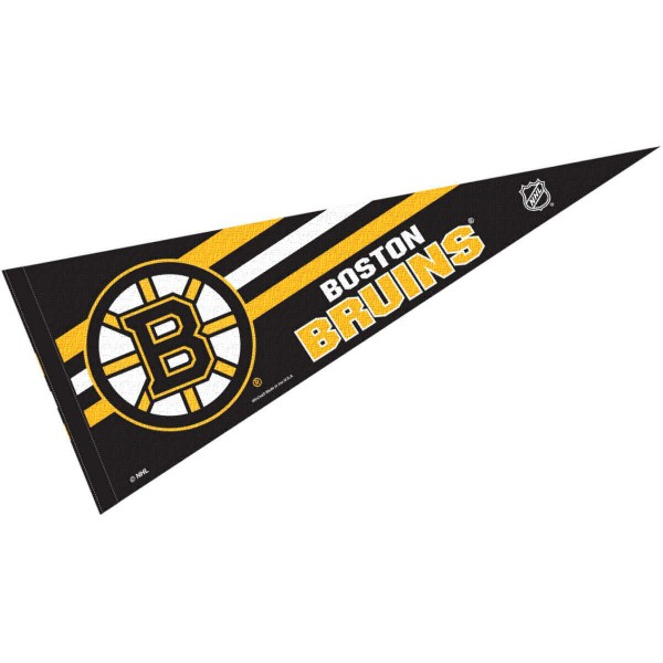 Boston Bruins NHL Pennant is our full size 12x30 inch pennant which is made of felt, is single sided screen printed, and is perfect for decorating at home or office. Display your NHL hockey allegiance with this NHL Genuine Merchandise item.