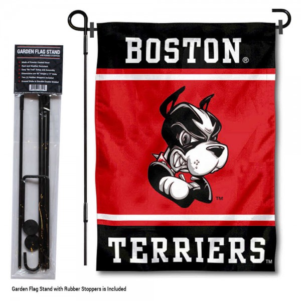 "Boston BU Terriers Garden Flag and Pole Stand Holder kit includes our 13""x18"" garden banner which is made of 2 ply poly with liner and has screen printed licensed logos. Also, a 40""x17"" inch garden flag stand is included so your Boston BU Terriers Garden Flag and Pole Stand Holder is ready to be displayed with no tools needed for setup. Fast Overnight Shipping is offered and the flag is Officially Licensed and Approved by the selected team."