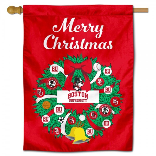 Boston BU Terriers Happy Holidays Banner Flag measures 30x40 inches, is made of poly, has a top hanging sleeve, and offers dye sublimated Boston BU Terriers logos. This Decorative Boston BU Terriers Happy Holidays Banner Flag is officially licensed by the NCAA.