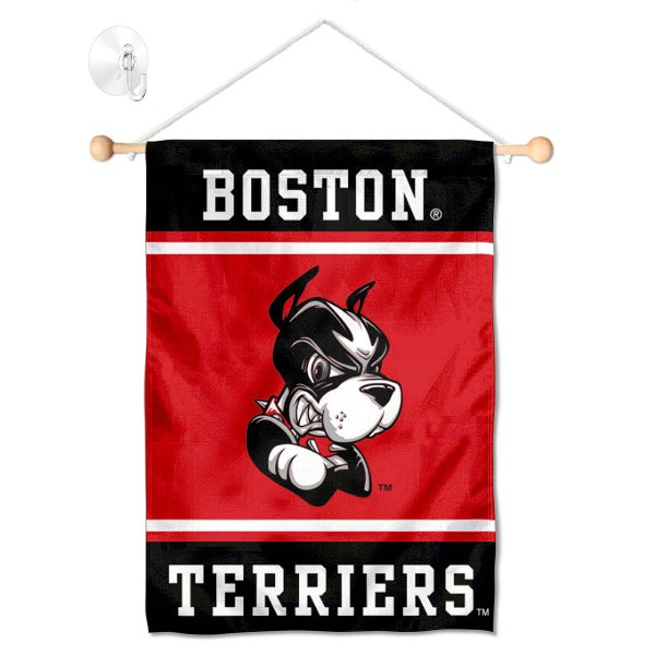 "Boston BU Terriers Window and Wall Banner kit includes our 13""x18"" garden banner which is made of 2 ply poly with liner and has screen printed licensed logos. Also, a 17"" wide banner pole with suction cup is included so your Boston BU Terriers Window and Wall Banner is ready to be displayed with no tools needed for setup. Fast Overnight Shipping is offered and the flag is Officially Licensed and Approved by the selected team."