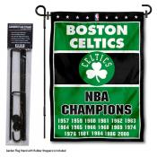 Boston Celtics 17 Time Champions Garden Flag and Flag Pole Stand