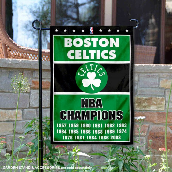 Boston Celtics 17 Time NBA Champions Garden Flag is 12.5x18 inches in size, is made of 2-ply polyester, and has two sided screen printed logos and lettering. Available with Express Next Day Shipping, our Boston Celtics 17 Time NBA Champions Garden Flag is NBA Genuine Merchandise and is double sided.