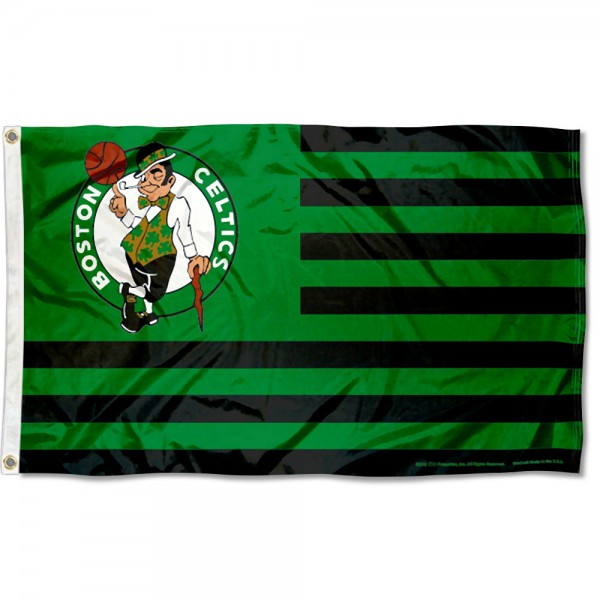 Boston Celtics Americana Stripes Nation Flag measures 3x5 feet, is made of polyester, offers quad-stitched flyends, has two metal grommets, and is viewable from both sides with a reverse image on the opposite side. Our Boston Celtics Americana Stripes Nation Flag is Genuine NBA Merchandise.