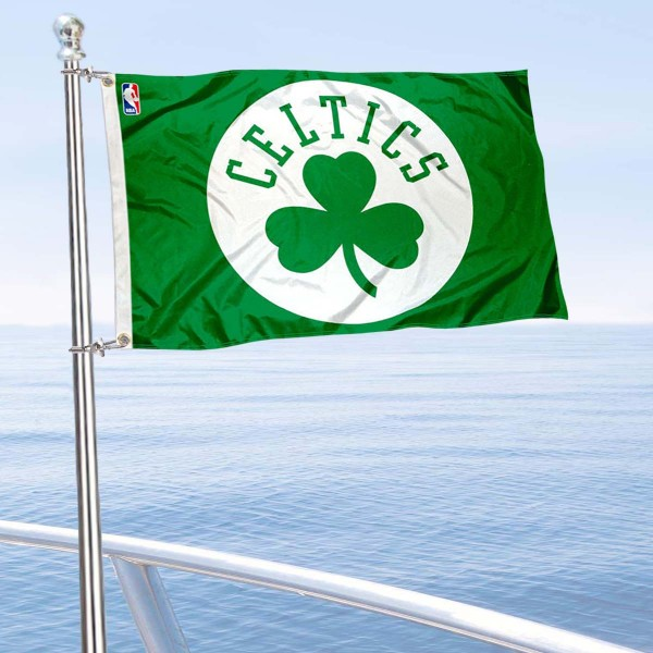 """Our Boston Celtics Boat and Nautical Flag is 12""""x18"""", made of three-ply poly, has a solid header with two metal grommets, and is double sided. This Boat and Nautical Flag for Boston Celtics is Officially Licensed by the NBA and can also be used as a motorcycle flag, boat flag, golf cart flag, or recreational flag."""
