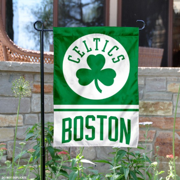 Boston Celtics Garden Flag is 12.5x18 inches in size, is made of 2-ply polyester, and has two sided screen printed logos and lettering. Available with Express Next Day Shipping, our Boston Celtics Garden Flag is NBA Genuine Merchandise and is double sided.