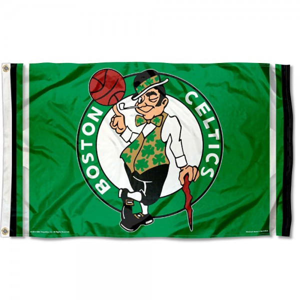 The Boston Celtics Green Team Flag is four-stitched bordered, double sided, made of poly, 3'x5', and has two grommets. These Boston Celtics Green Team Flags are NBA Genuine Merchandise.