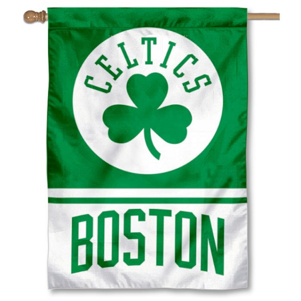 Boston Celtics Shamrock Logo Double Sided House Flag is screen printed with Boston Celtics logos, is made of 2-ply 100% polyester, and is two sided and double sided. Our banners measure 28x40 inches and hang vertically with a top pole sleeve to insert your banner pole or flagpole.