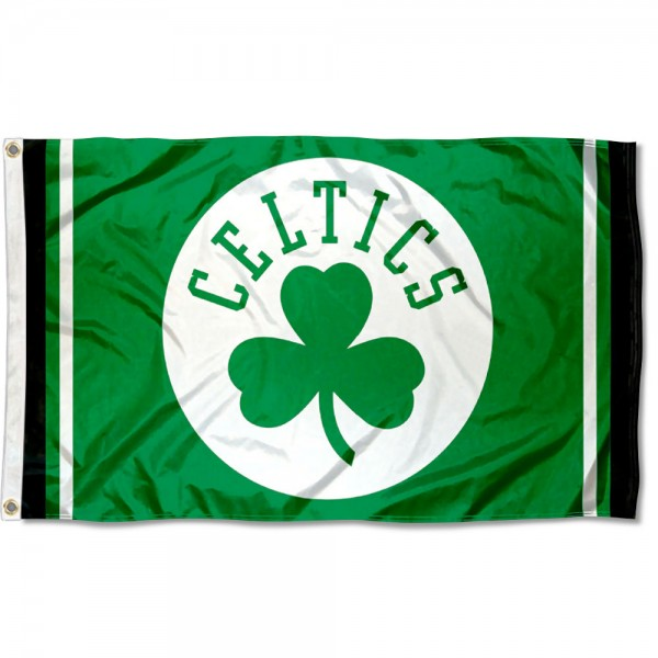 The Boston Celtics Shamrock Logo Flag is four-stitched bordered, double sided, made of poly, 3'x5', and has two grommets. These Boston Celtics Shamrock Logo Flags are NBA Genuine Merchandise.
