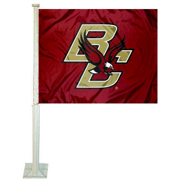 Boston College Car Window Flag measures 12x15 inches, is constructed of sturdy 2 ply polyester, and has dye sublimated school logos which are readable and viewable correctly on both sides. Boston College Car Window Flag is officially licensed by the NCAA and selected university.