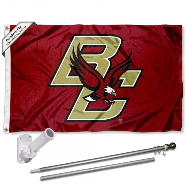 Our Boston College Eagles BC Logo Flag Pole and Bracket Kit includes the flag as shown and the recommended flagpole and flag bracket. The flag is made of polyester, has quad-stitched flyends, and the NCAA Licensed team logos are double sided screen printed. The flagpole and bracket are made of rust proof aluminum and includes all hardware so this kit is ready to install and fly.