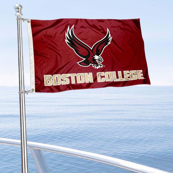Boston College Eagles Boat and Mini Flag is 12x18 inches, polyester, offers quadruple stitched flyends for durability, has two metal grommets, and is double sided. Our mini flags for Boston College Eagles are licensed by the university and NCAA and can be used as a boat flag, motorcycle flag, golf cart flag, or ATV flag.