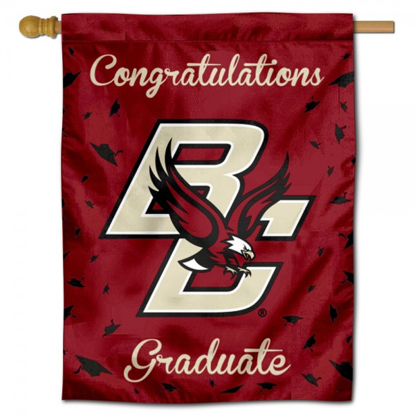 Boston College Eagles Congratulations Graduate Flag measures 30x40 inches, is made of poly, has a top hanging sleeve, and offers dye sublimated Boston College Eagles logos. This Decorative Boston College Eagles Congratulations Graduate House Flag is officially licensed by the NCAA.