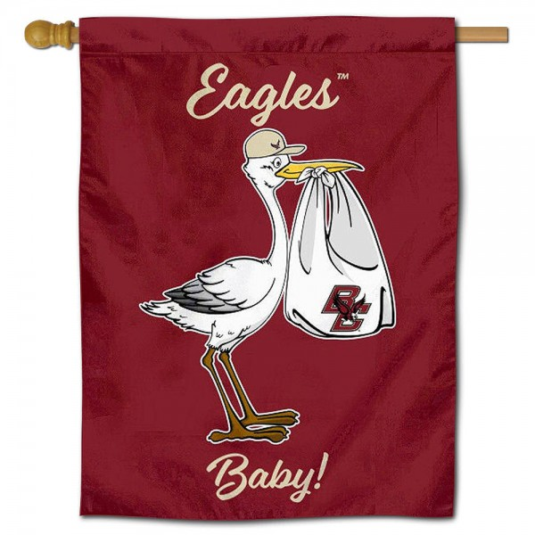 Boston College Eagles New Baby Flag measures 30x40 inches, is made of poly, has a top hanging sleeve, and offers dye sublimated Boston College Eagles logos. This Decorative Boston College Eagles New Baby House Flag is officially licensed by the NCAA.