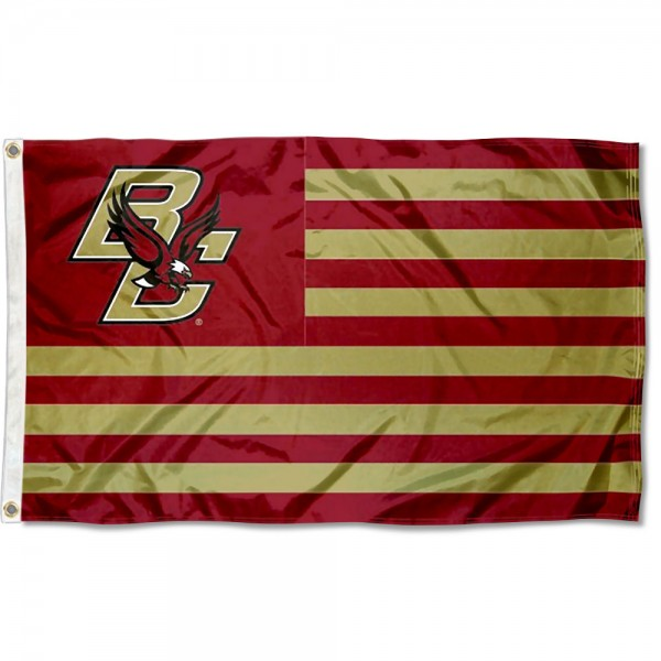 Boston College Eagles Stripes Flag measures 3'x5', is made of polyester, offers double stitched flyends for durability, has two metal grommets, and is viewable from both sides with a reverse image on the opposite side. Our Boston College Eagles Stripes Flag is officially licensed by the selected school university and the NCAA.
