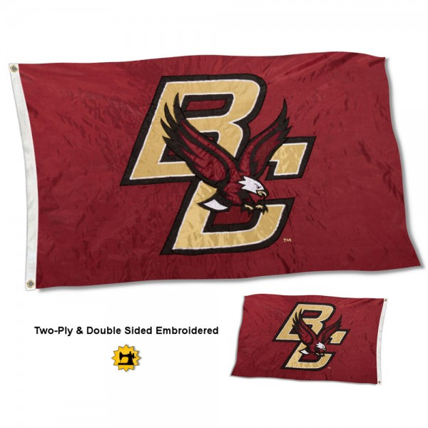 Boston College Flag measures 3'x5' in size, is made of 2 layer embroidered 100% nylon, has quadruple stitched fly ends for durability, and is viewable and readable correctly on both sides. Our Boston College Flag is officially licensed by the university, school, and the NCAA