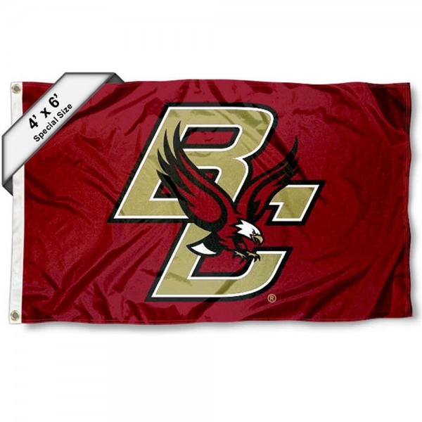 Boston College Large 4x6 Flag measures 4x6 feet, is made thick woven polyester, has quadruple stitched flyends, two metal grommets, and offers screen printed NCAA Boston College Large athletic logos and insignias. Our Boston College Large 4x6 Flag is officially licensed by Boston College and the NCAA.