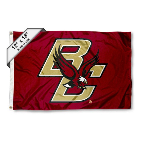 Boston College Nautical Flag measures 12x18 inches, is made of two-ply nylon, offers double stitched flyends for durability, has two metal grommets, and is viewable from both sides. Our Boston College Nautical Flag is officially licensed by the selected university and the NCAA and can be used as a motorcycle flag, golf cart flag, or ATV flag