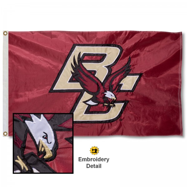 Boston College Nylon Embroidered Flag measures 3'x5', is made of 100% nylon, has quadruple flyends, two metal grommets, and has double sided appliqued and embroidered University logos. These Boston College 3x5 Flags are officially licensed by the selected university and the NCAA.