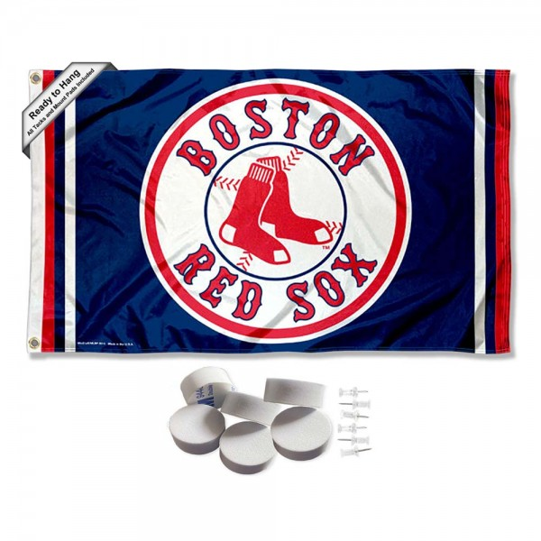 Our Boston Red Sox Banner Flag with Tack Wall Pads is double sided, made of poly, 3'x5', has two metal grommets, indoor or outdoor, and four-stitched fly ends. These Boston Red Sox Banner Flag with Tack Wall Padss are Officially Approved by the Boston Bruins. Tapestry Wall Hanging Tack Pads which include a 6 pack of banner display pads with 6 tacks allowing you to hang your pennant on any wall damage-free.