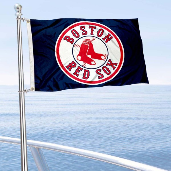 "Our Boston Red Sox Boat and Nautical Flag is 12""x18"", made of three-ply poly, has a solid header with two metal grommets, and is double sided. This Boat and Nautical Flag for Boston Red Sox is Officially Licensed by the MLB and can also be used as a motorcycle flag, boat flag, golf cart flag, or recreational flag."