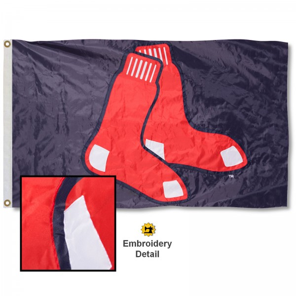 This Boston Red Sox Embroidered Nylon Flag is double sided, made of nylon, 3'x5', has two metal grommets, indoor or outdoor, and four-stitched fly ends. These Boston Red Sox Embroidered Nylon Flags are Officially Approved the Boston Red Sox and MLB.