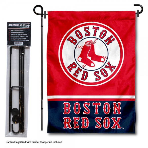 "Boston Red Sox Logo Garden Flag and Stand kit includes our 13""x18"" garden banner which is made of 2 ply poly with liner and has screen printed licensed logos. Also, a 40""x17"" inch garden flag stand is included so your Boston Red Sox Logo Garden Flag and Stand is ready to be displayed with no tools needed for setup. Fast Overnight Shipping is offered and the flag is Officially Licensed and Approved by the selected team."