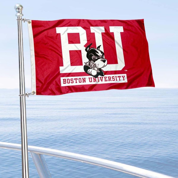 Boston Terriers Boat and Mini Flag is 12x18 inches, polyester, offers quadruple stitched flyends for durability, has two metal grommets, and is double sided. Our mini flags for Boston Terriers are licensed by the university and NCAA and can be used as a boat flag, motorcycle flag, golf cart flag, or ATV flag.