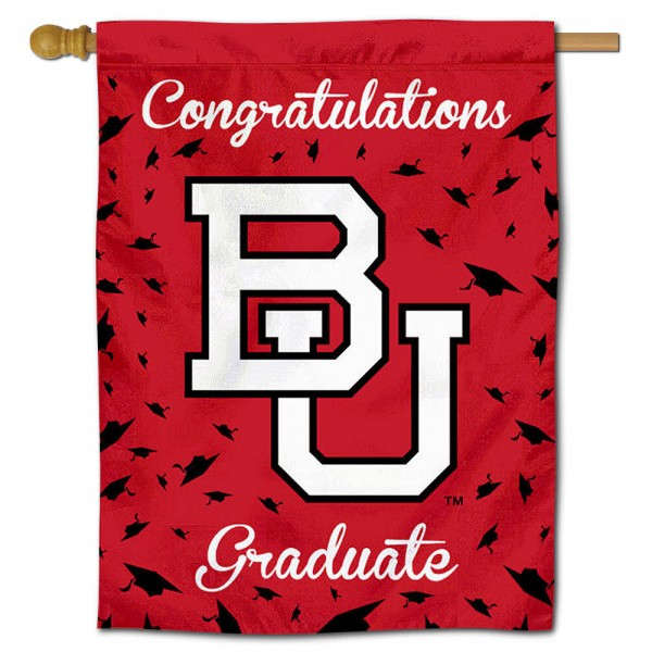 Boston Terriers Congratulations Graduate Flag measures 30x40 inches, is made of poly, has a top hanging sleeve, and offers dye sublimated Boston Terriers logos. This Decorative Boston Terriers Congratulations Graduate House Flag is officially licensed by the NCAA.