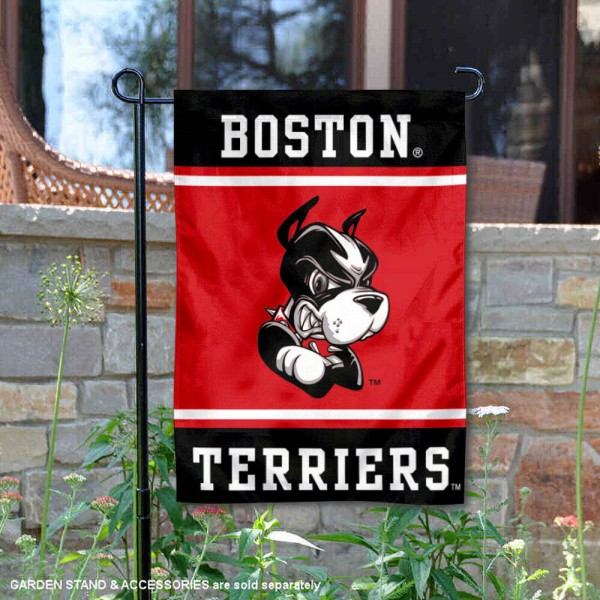 Boston Terriers Garden Flag is 13x18 inches in size, is made of 2-layer polyester, screen printed logos and lettering. Available with Same Day Express Shipping, Our Boston Terriers Garden Flag is officially licensed and approved by the NCAA.