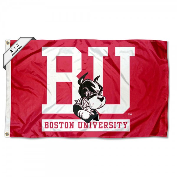 Boston Terriers Small 2'x3' Flag measures 2x3 feet, is made of 100% polyester, offers quadruple stitched flyends, has two brass grommets, and offers printed Boston Terriers logos, letters, and insignias. Our 2x3 foot flag is Officially Licensed by the selected university.